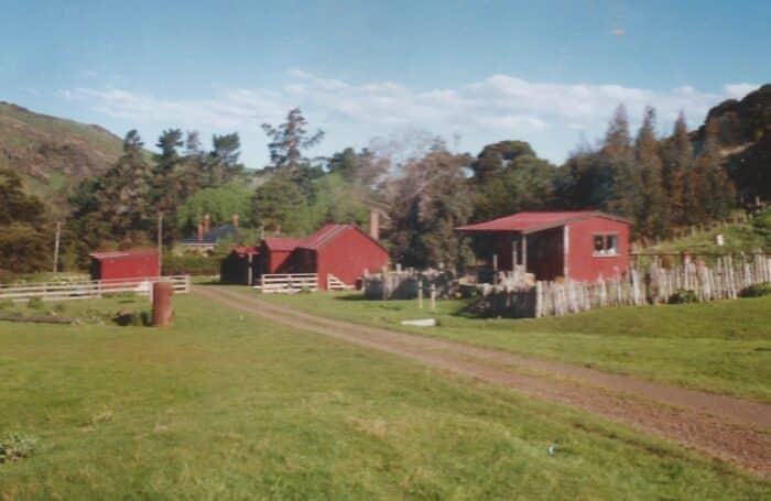 Small red cabins were Banks Track original Otanerito accommodation 1989